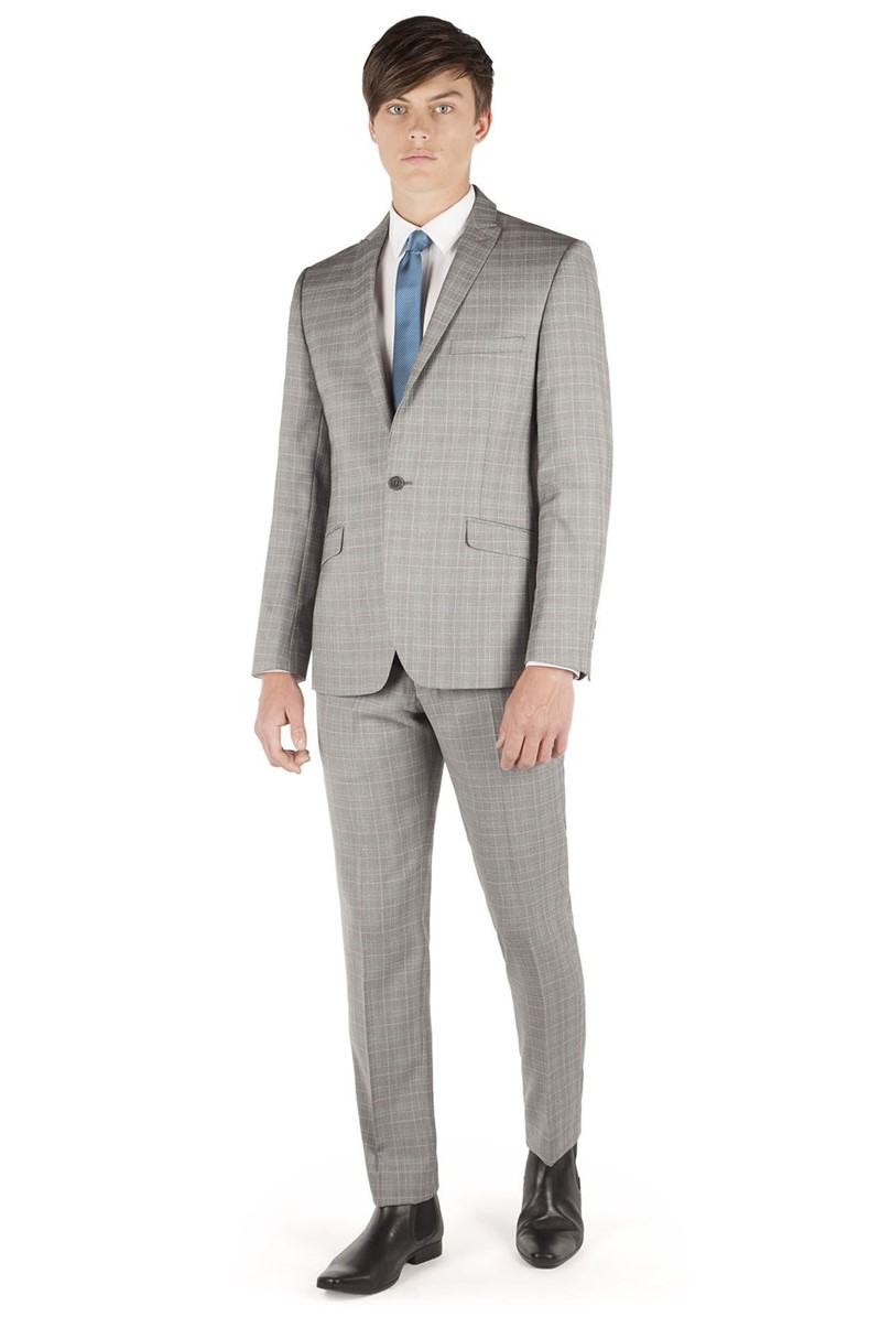Silver Grey Check Slim Fit Suit