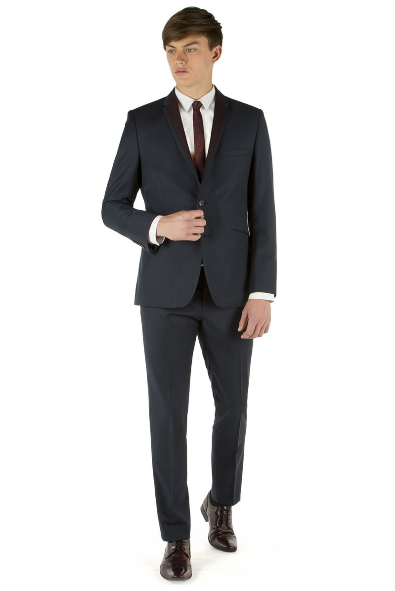 Navy Twill Slim Fit Suit with Contrasting Lapel