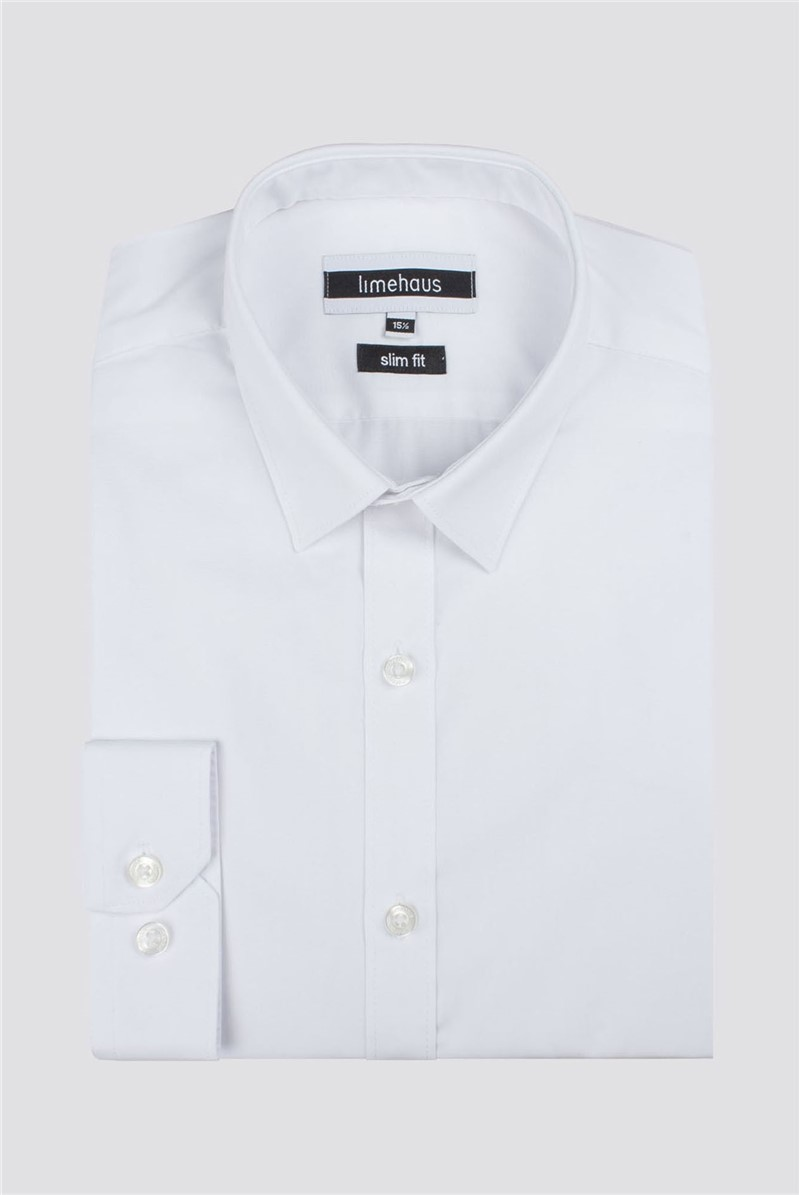 Limehaus Plain White Slim Fit Shirt