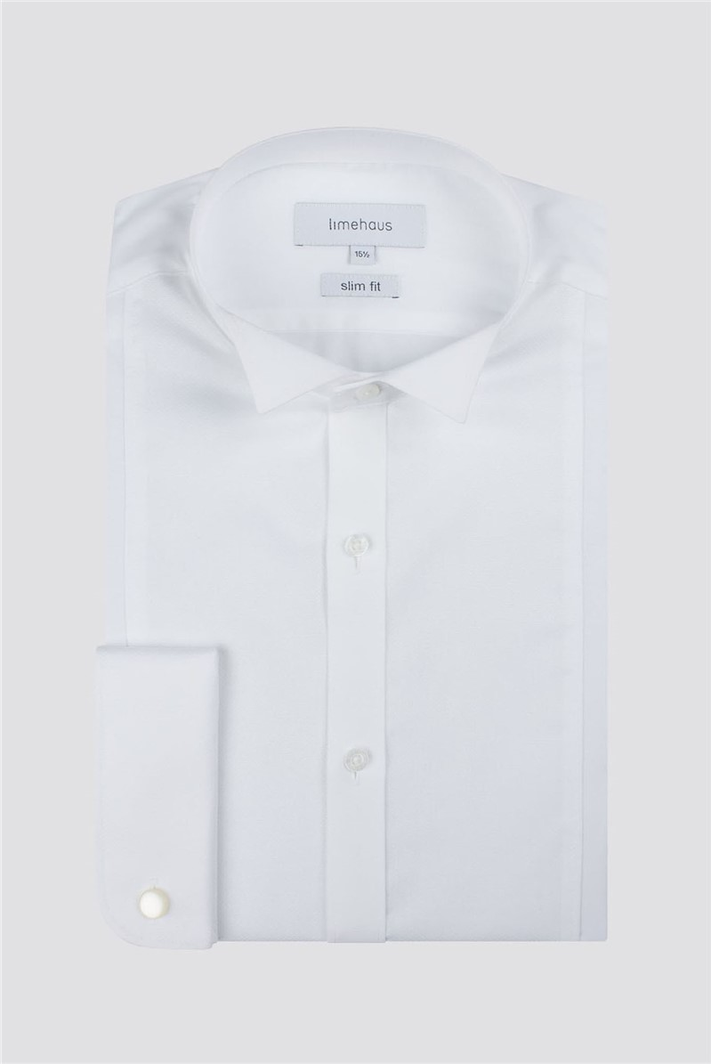 Wing Collar Dobby Panelled Slim Fit Shirt