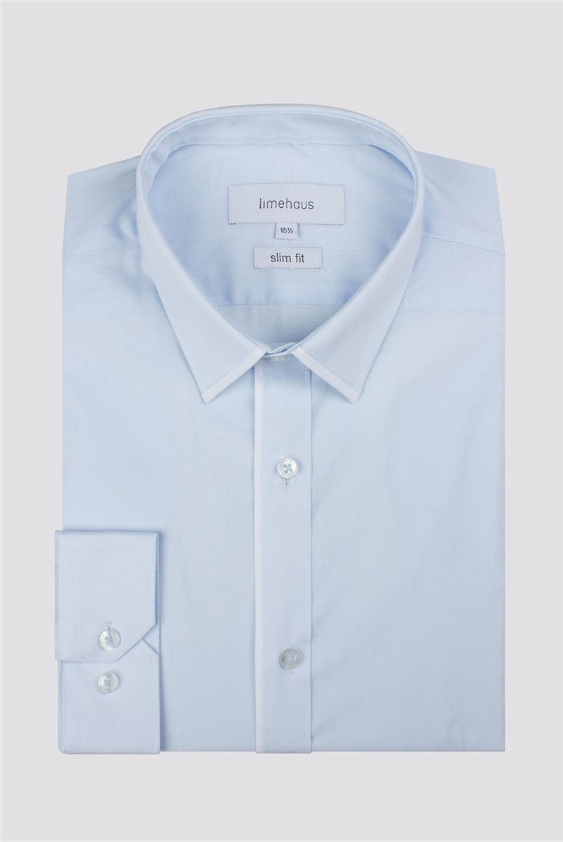 Limehaus Blue Poplin Slim Fit Shirt Tipped With White