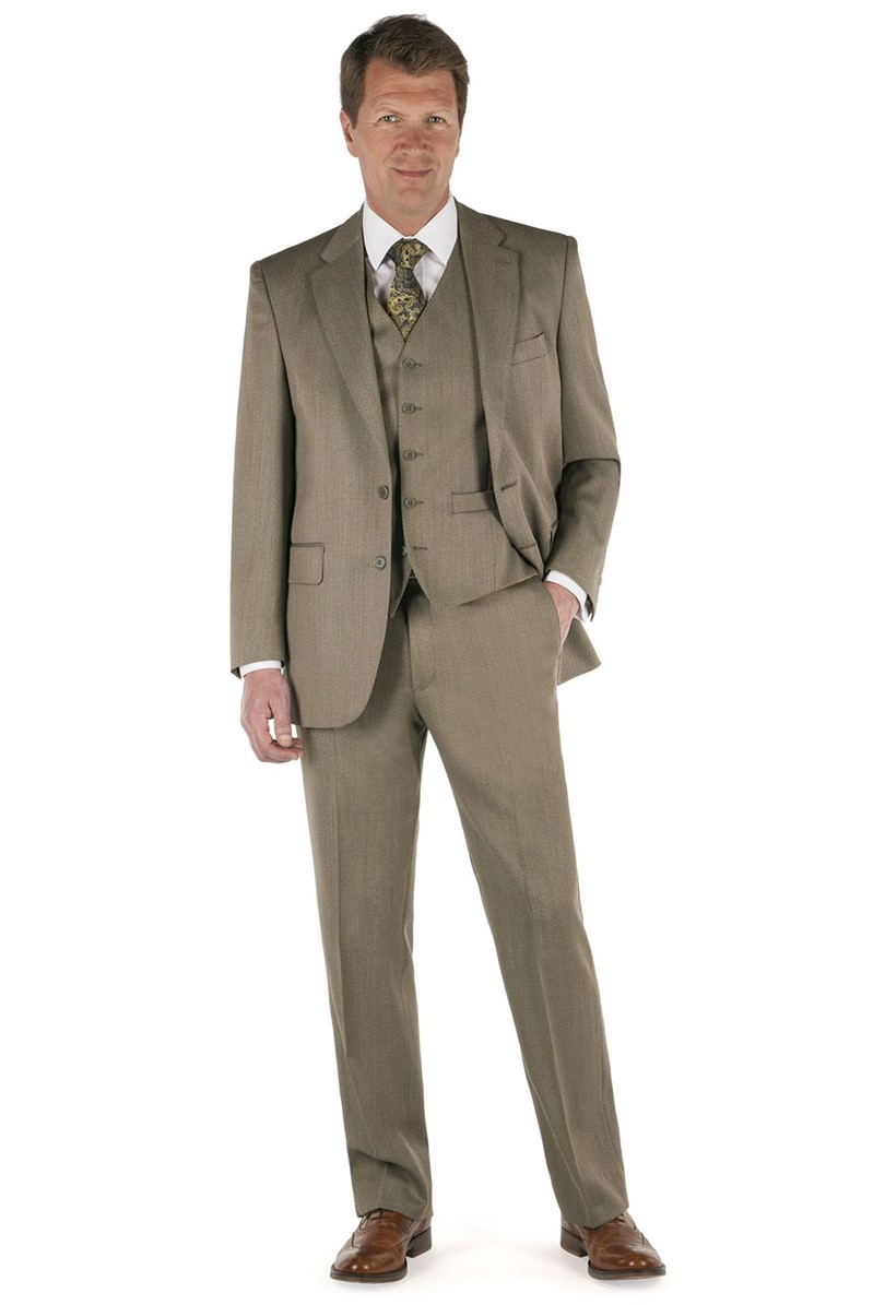 Taupe Twill Regular Fit Country Suit
