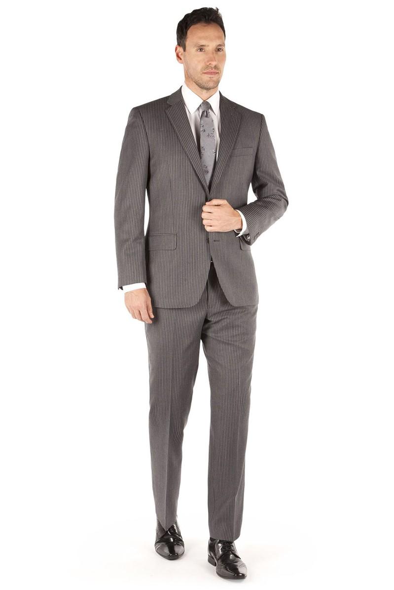 Grey Bold Stripe Regular Fit Suit