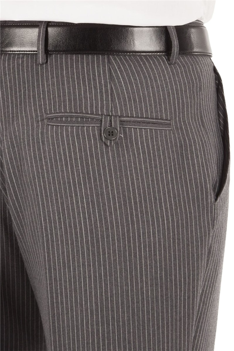 Grey Bold Stripe Regular Fit Suit Trousers