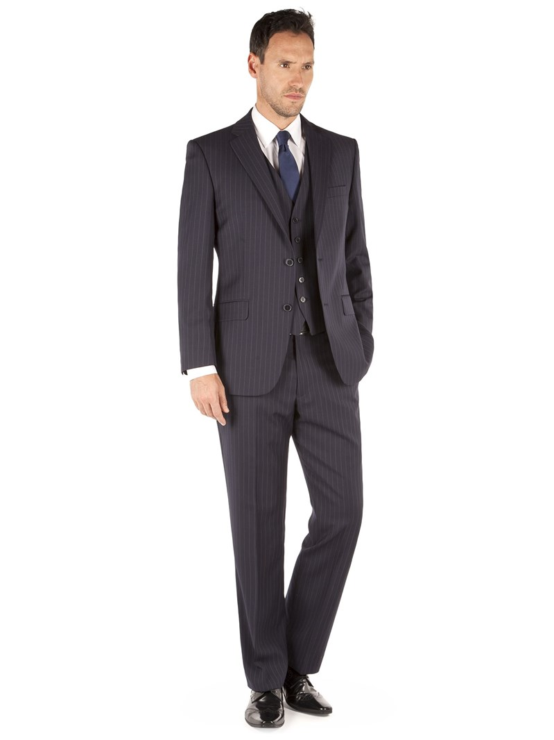 Navy Bold Stripe Regular Fit Suit