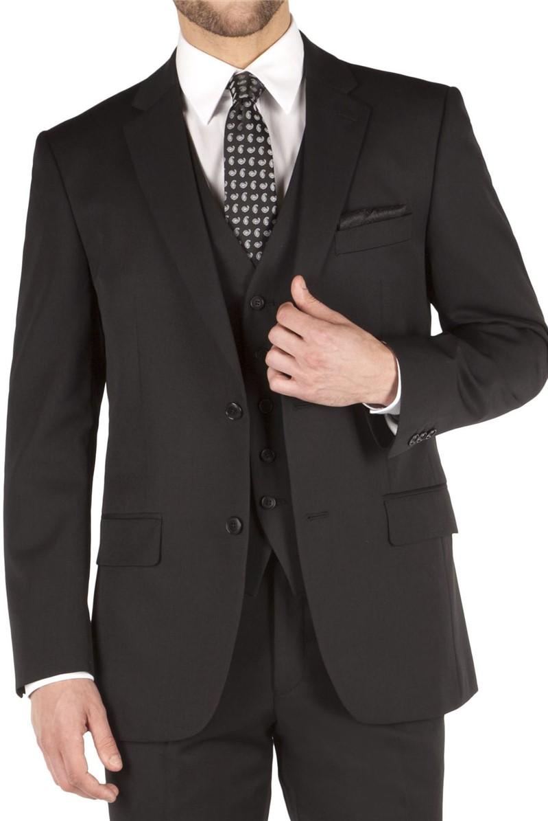 Black Twill Regular Fit Suit Jacket
