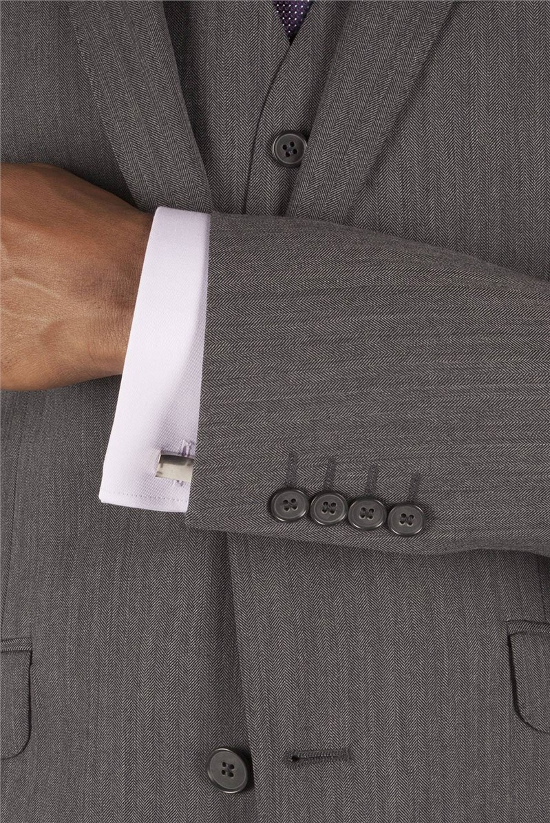 Charcoal Herringbone Tailored Fit Performance Suit Jacket