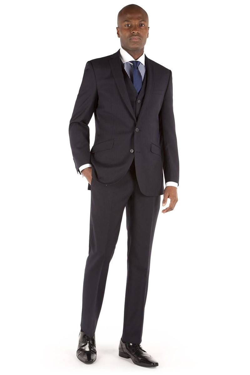 Navy Herringbone Tailored Fit Performance Suit