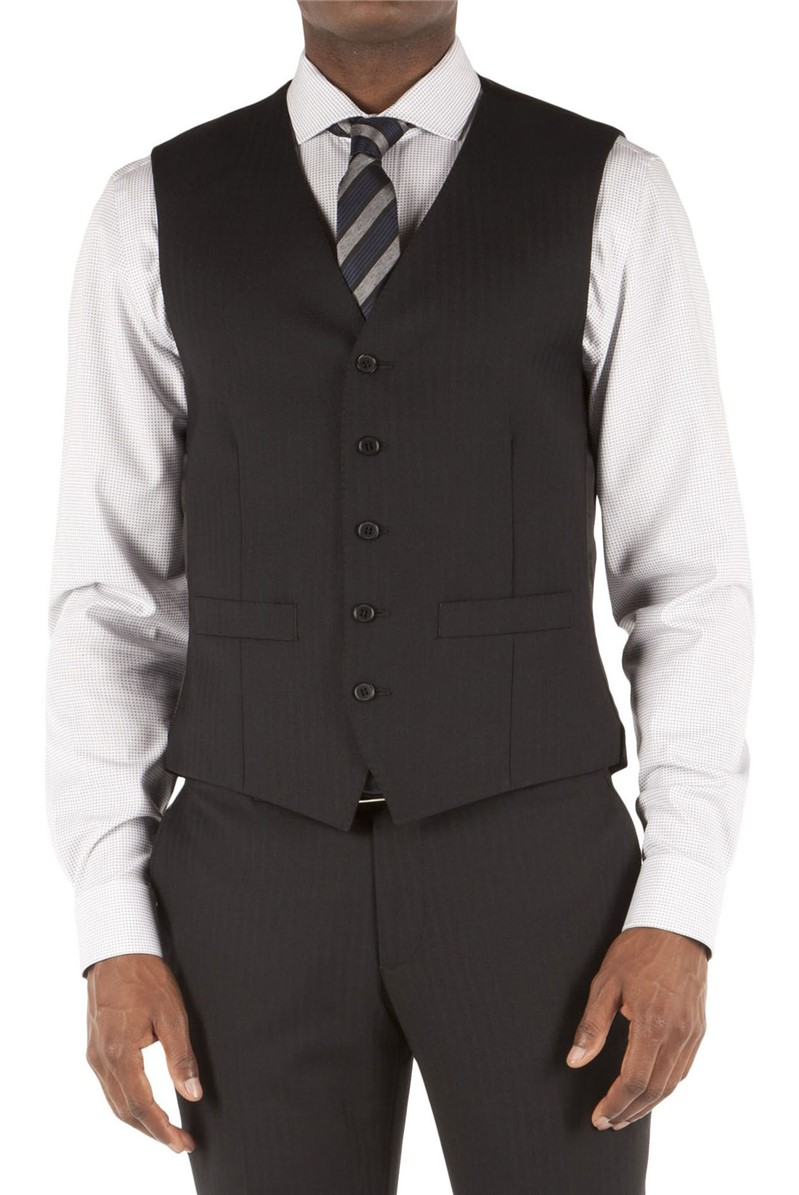 Racing Green Black Herringbone Tailored Fit Performance Suit Waistcoat