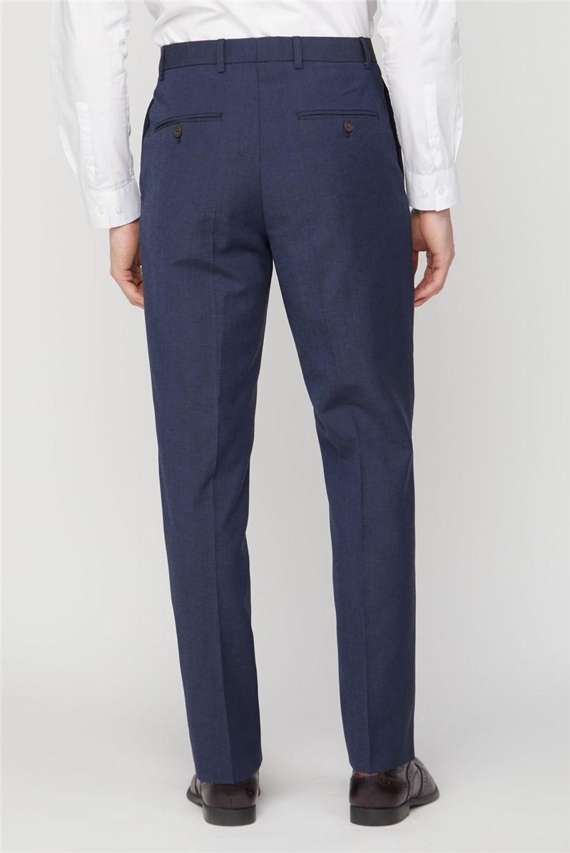 Navy Linen Blend Trousers