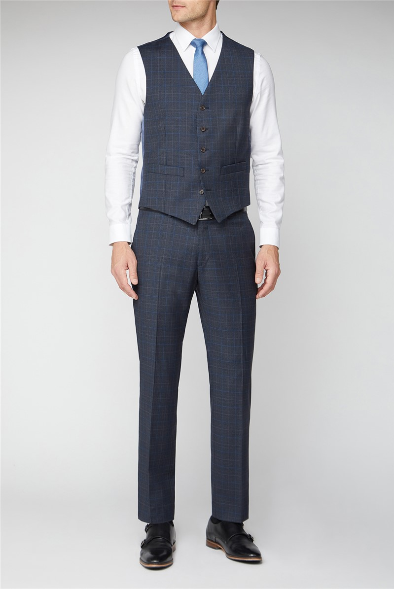 Navy Brown & Blue Checked Suit