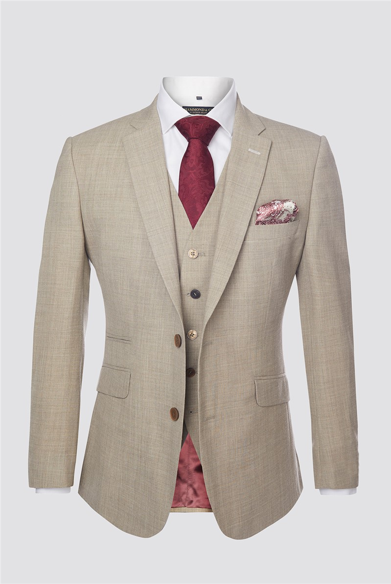 Cream Textured Contemporary Suit