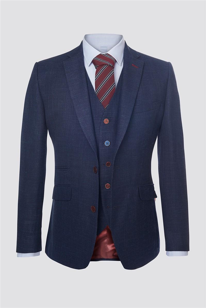 Navy Textured Contemporary Jacket