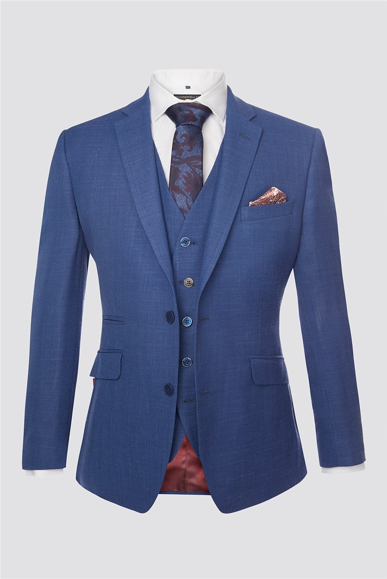Blue Textured Contemporary Jacket