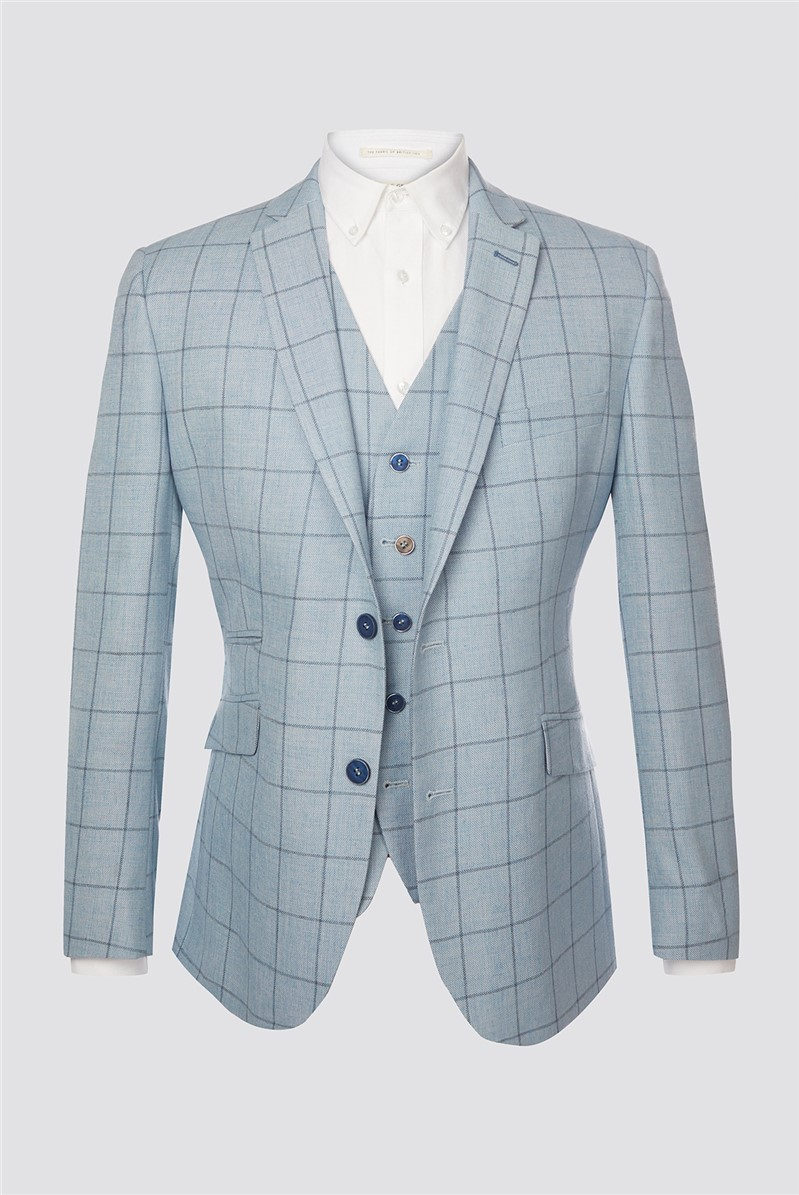 Light Blue and Blue Checked Suit