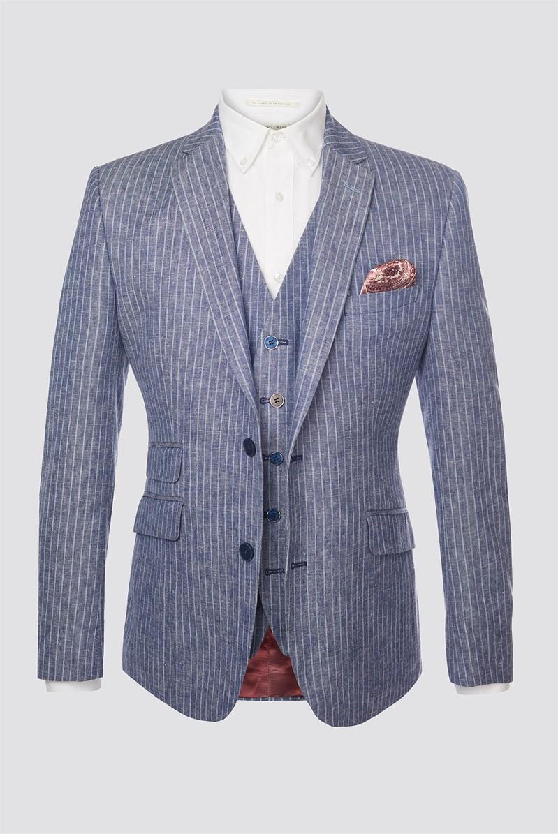 Blue Striped Tailored Fit Blazer