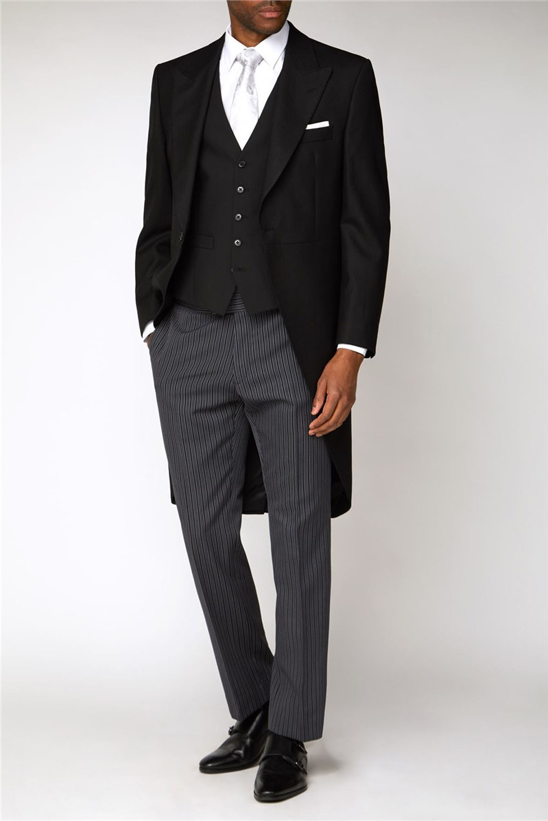 Black Herringbone Morning Suit