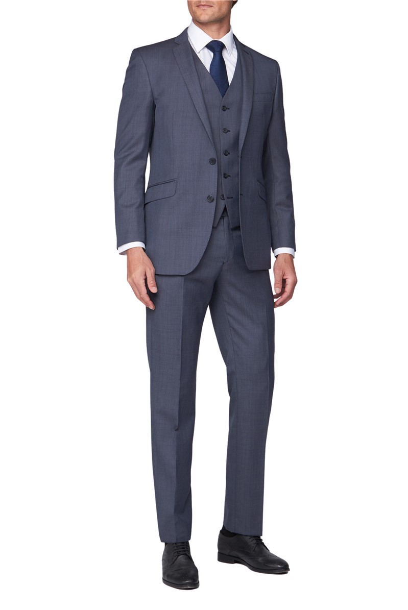 Blue Sharkskin Contemporary Fit Jacket