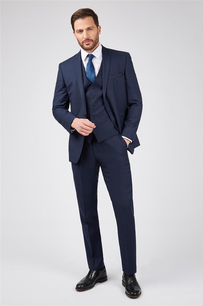 Ink Blue Sharkskin Premier Fit Suit