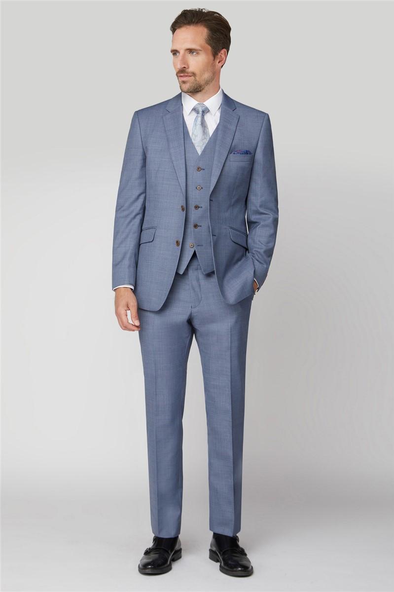 Light Blue Plain Sharkskin Classic Jacket