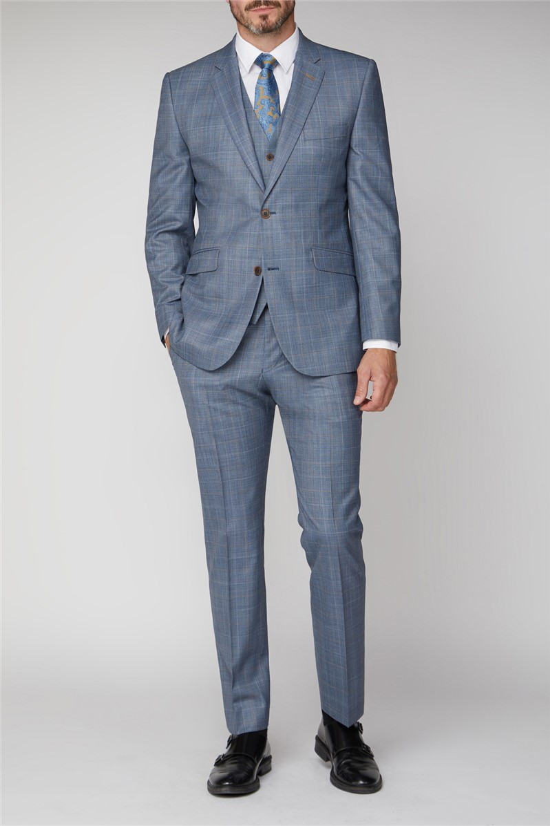 Light Blue Sharkskin with Tan Overcheck Jacket