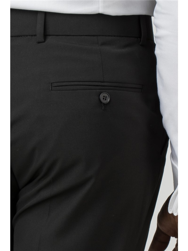 Black Panama Regular Fit Suit Trouser