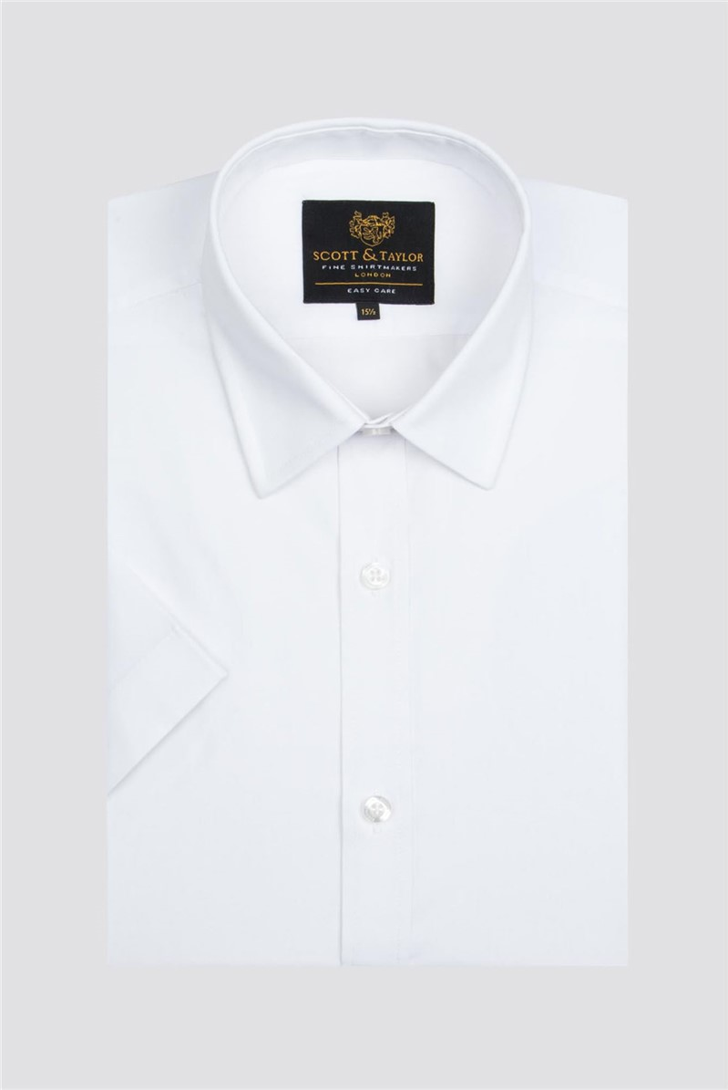 Scott & Taylor White Poplin Short Sleeve Shirt