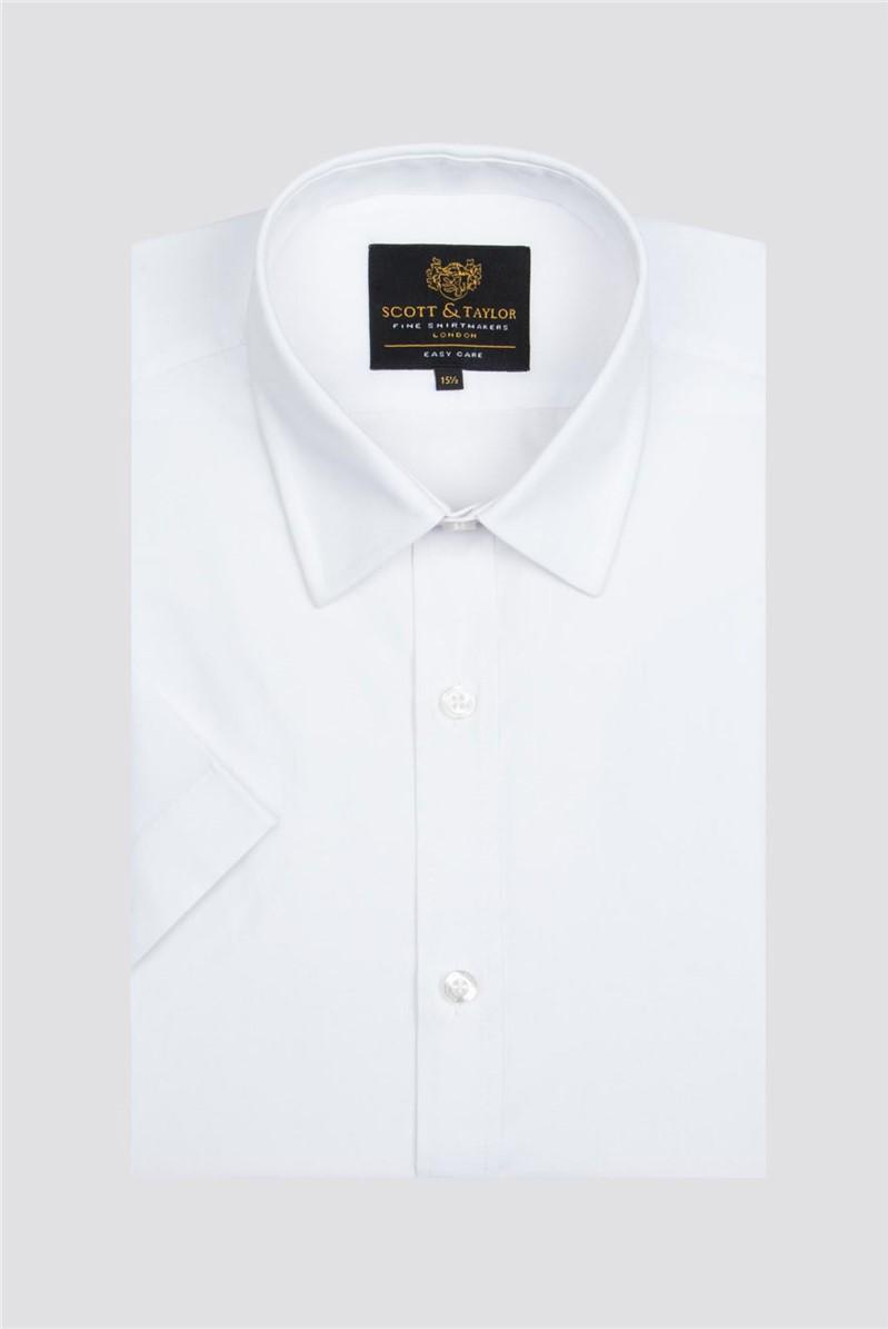 Scott & Taylor White Poplin Short Sleeve Shirt