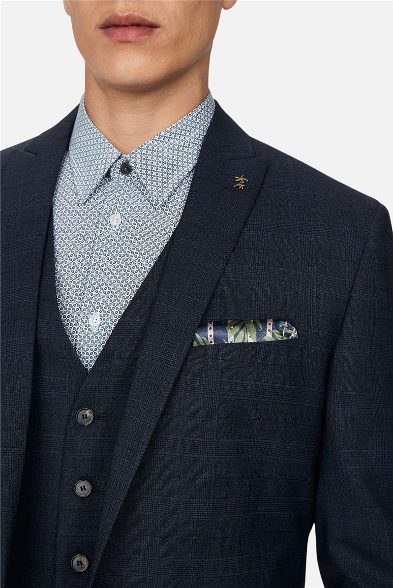 Navy Tonal Check Slim Waistcoat