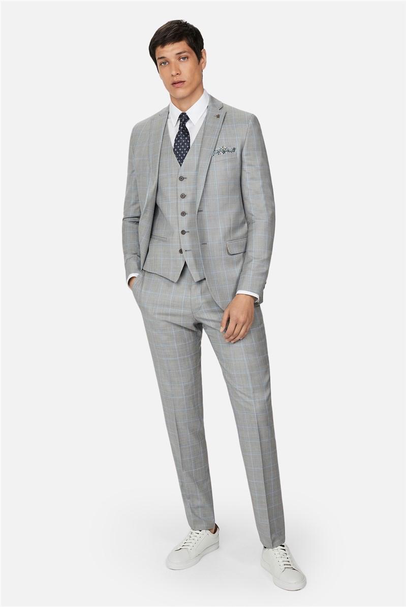 Grey Pale Blue Check Slim Waistcoat
