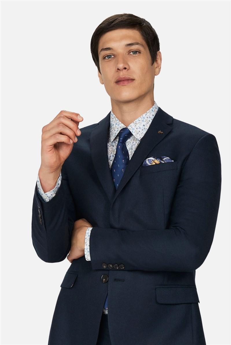Navy Texture Slim Fit Suit Trousers