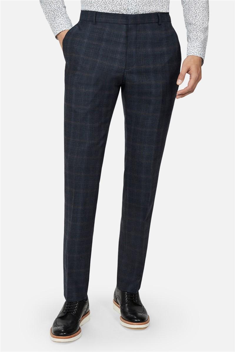 Navy Tan Check Slim Fit Suit Trouser