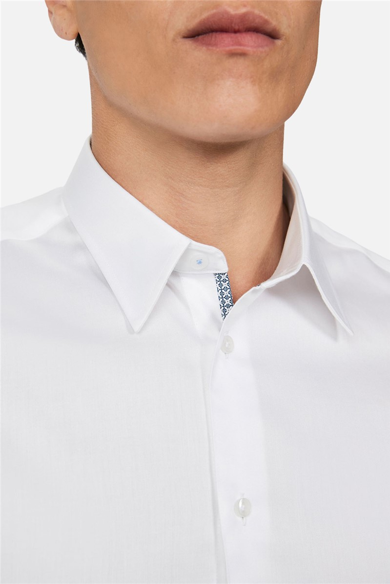 White Sateen Regular Fit Shirt