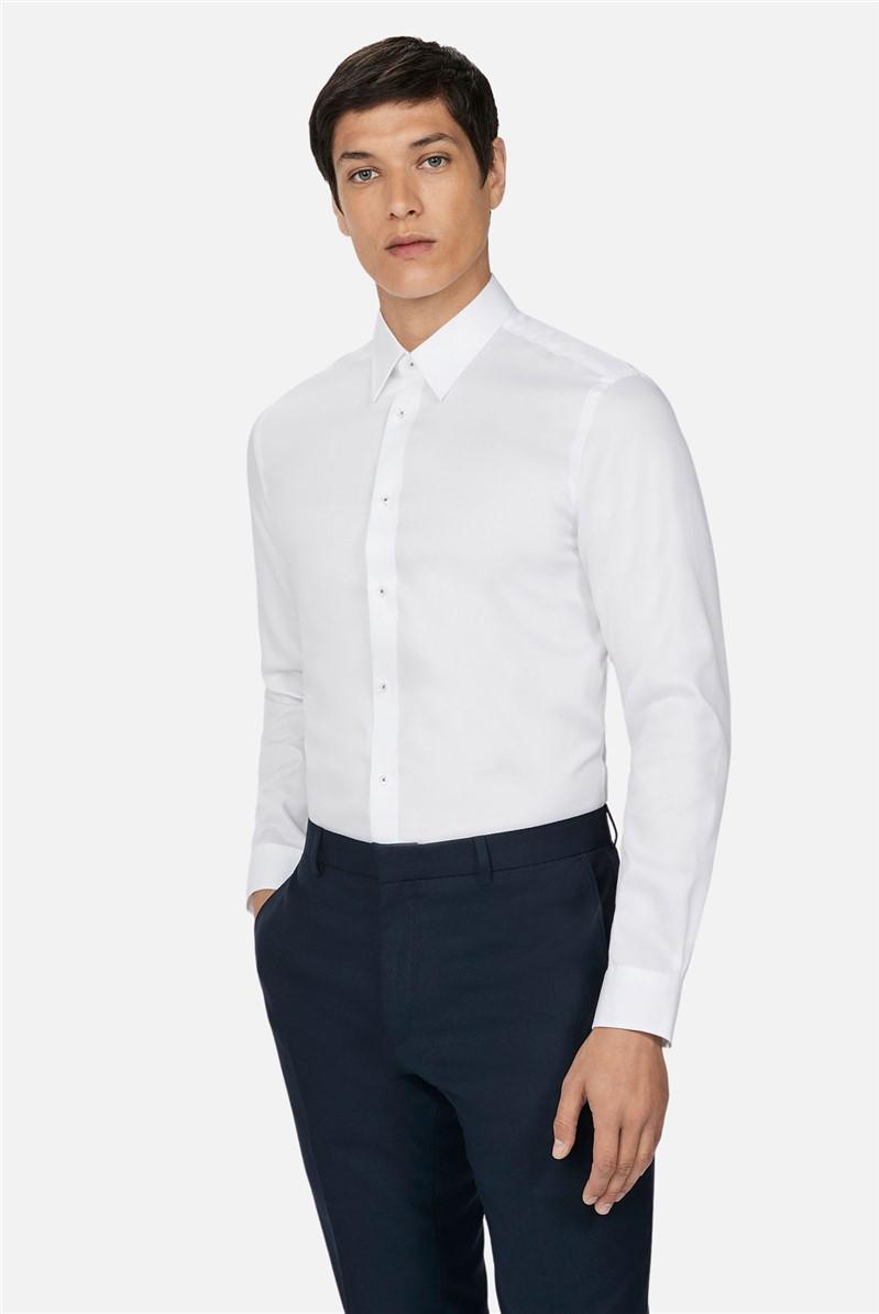 White Texture Regular Fit Shirt