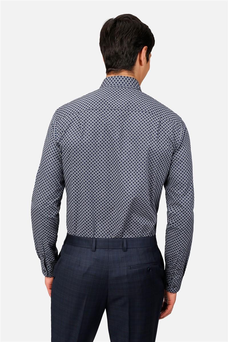 Navy Geo Print Regular Fit Shirt