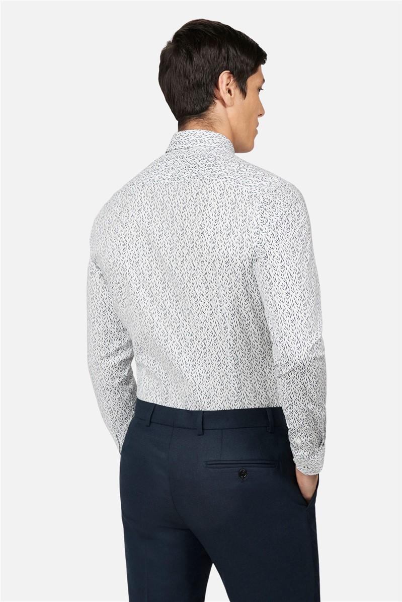 Cream Leaf Print Skinny Shirt