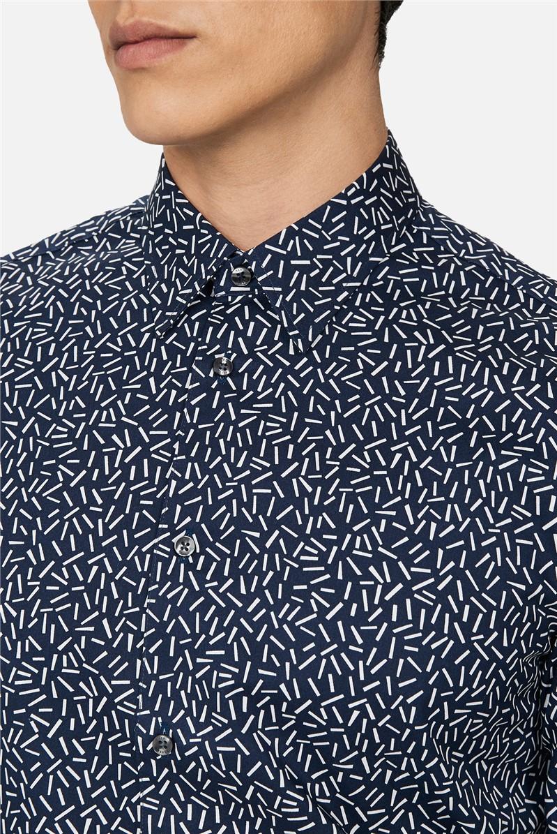 Navy Hundreds Print Slim Fit Shirt