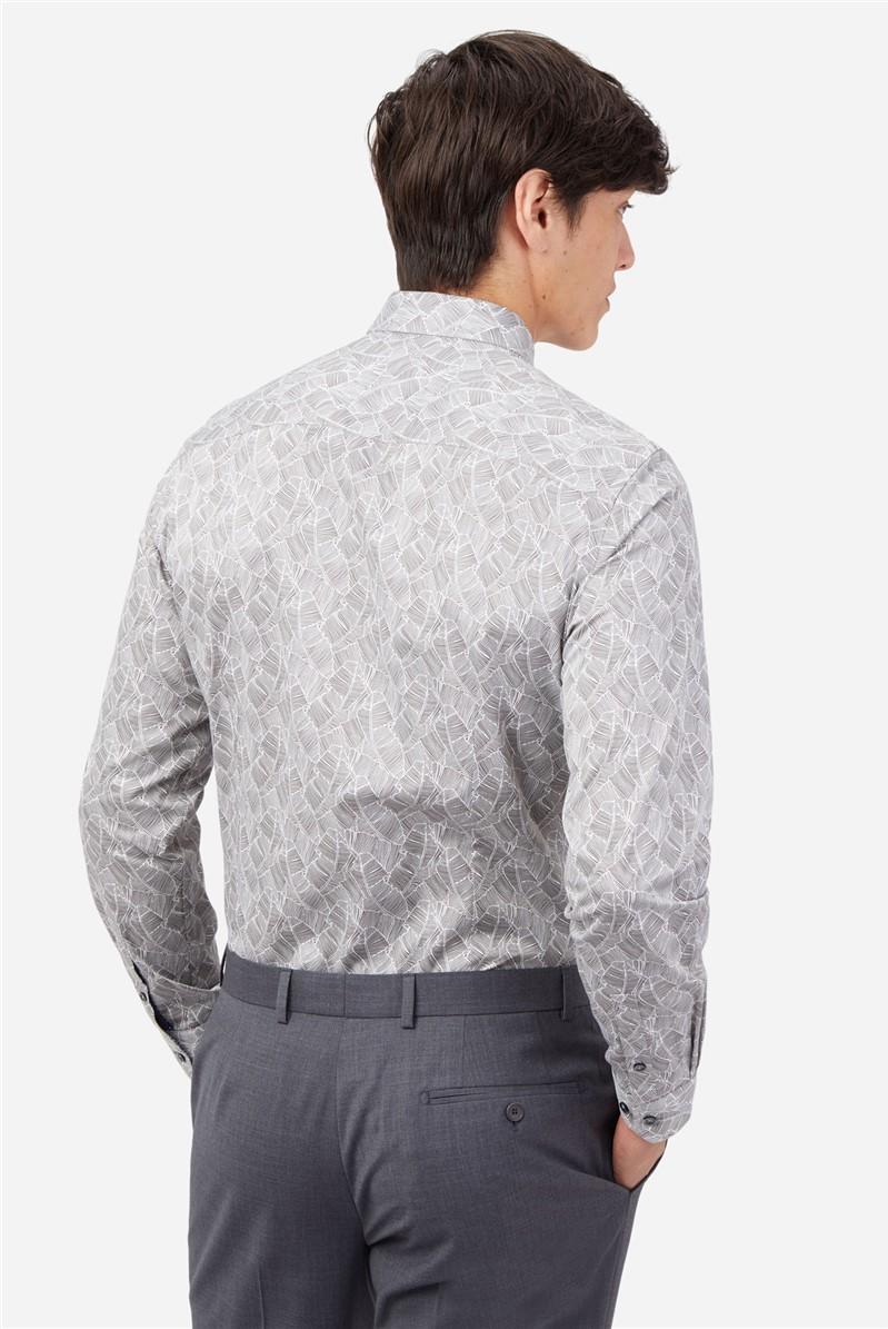 Grey Feather Print Shirt