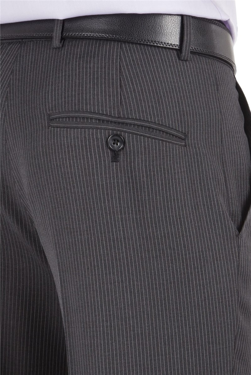 Grey Narrow Stripe Tailored Suit Trousers
