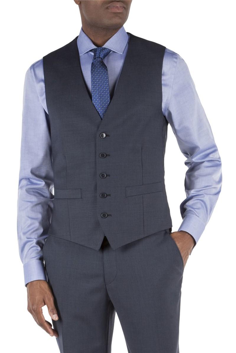 Navy Pick and Pick Tailored Waistcoat
