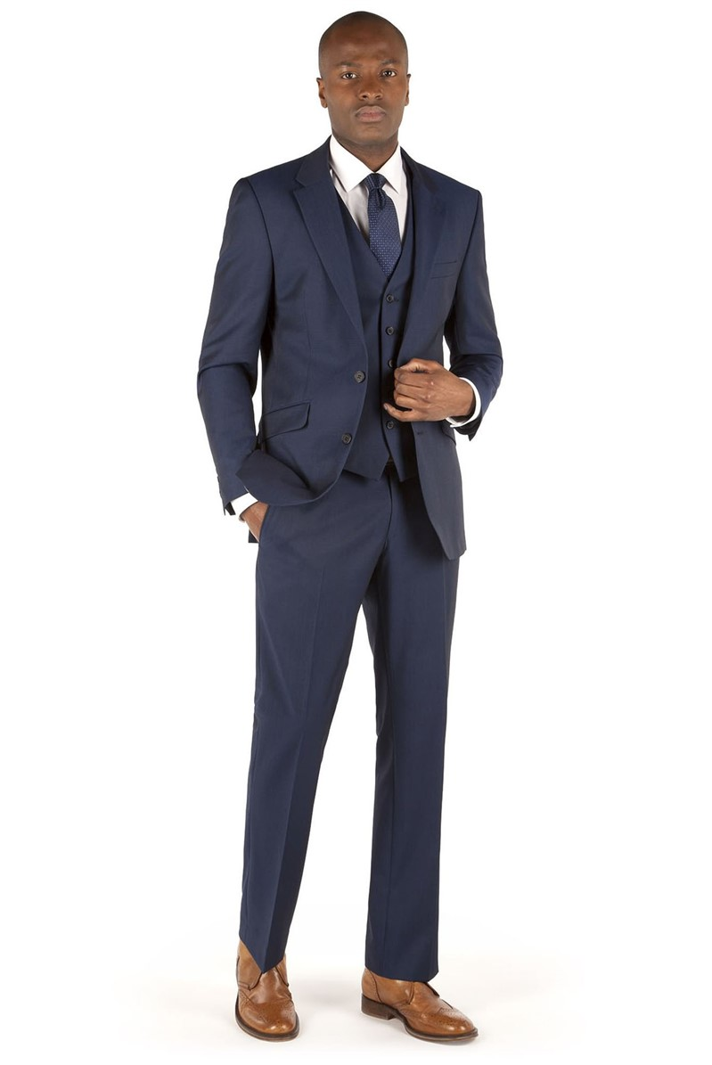Blue Twill Tailored Fit Suit