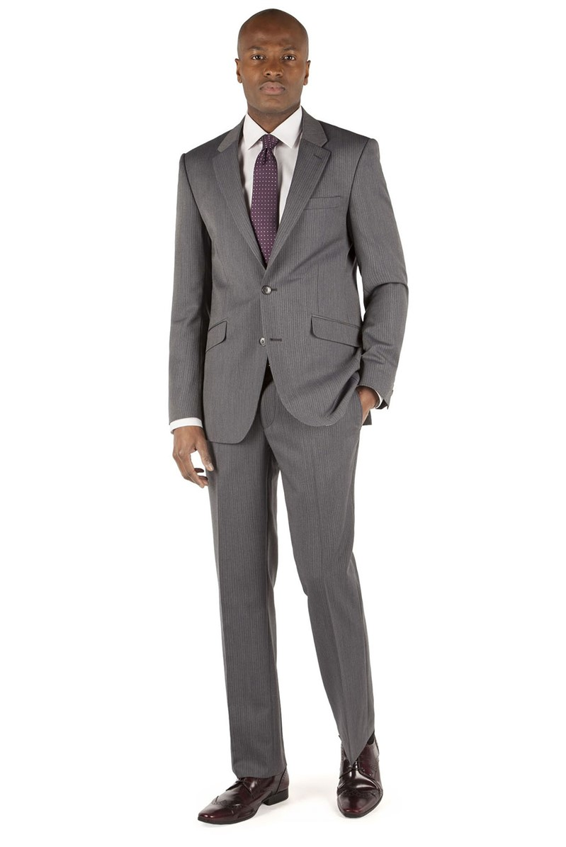 Grey Stripe Tailored Fit Suit