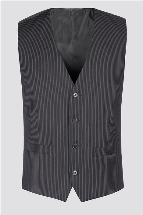 Burtons Black Stripe Waistcoat