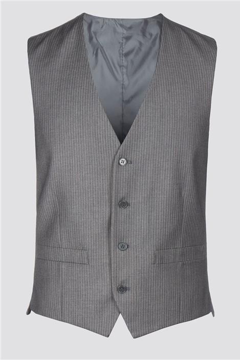 Burtons Grey Narrow Stripe Waistcoat