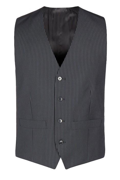 Burtons Black Narrow Stripe Waistcoat