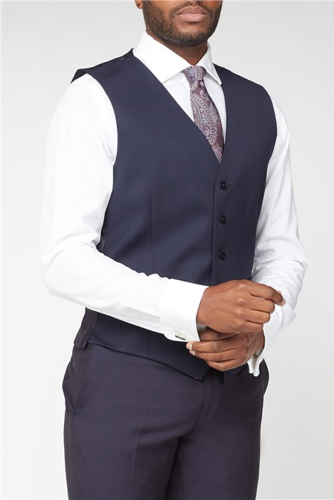 Alexandre of England Plain Navy Wool Waistcoat