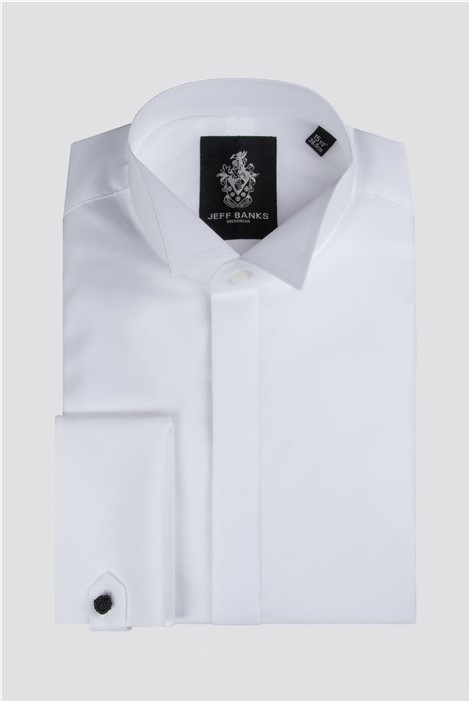 Jeff Banks White Fly Front Wing Collar Regular Fit Shirt