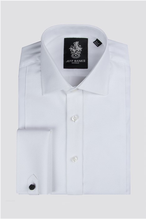 Jeff Banks White Marcella Placket Front Regular Fit Shirt