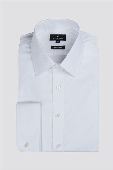 Jeff Banks White Diagonal Satin Stripe Regular Fit Shirt