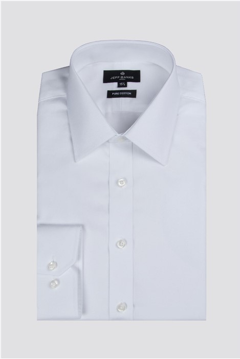 Jeff Banks White Dobby Regular Fit Shirt